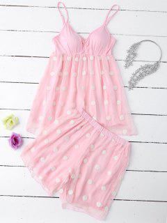 Cami Applique Layered Padded Sleepwear Suit - Papaya M