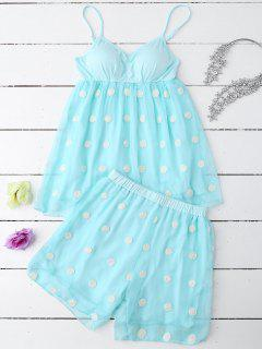 Cami Applique Layered Padded Sleepwear Suit - Pinkish Blue M