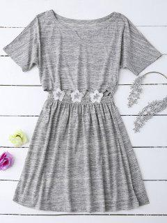 Heathered Cut Out Floral Patched Waist Babydoll - Gray M