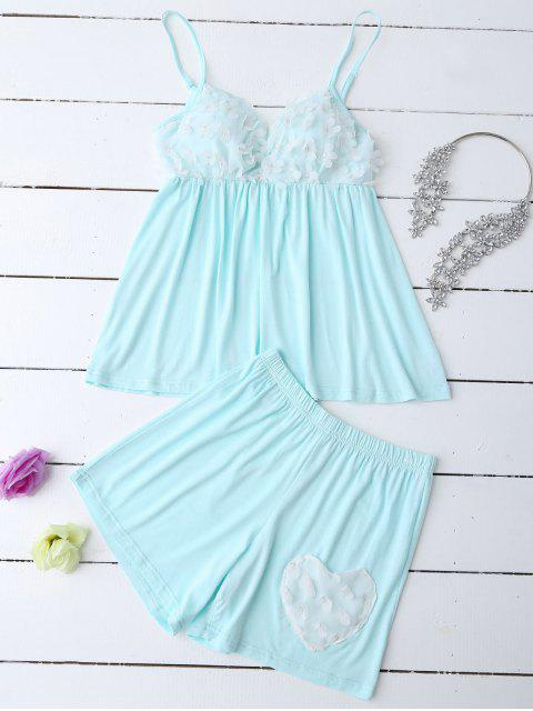 fashion Padded Floral Applique Top and Shorts - LIGHT GREEN L Mobile