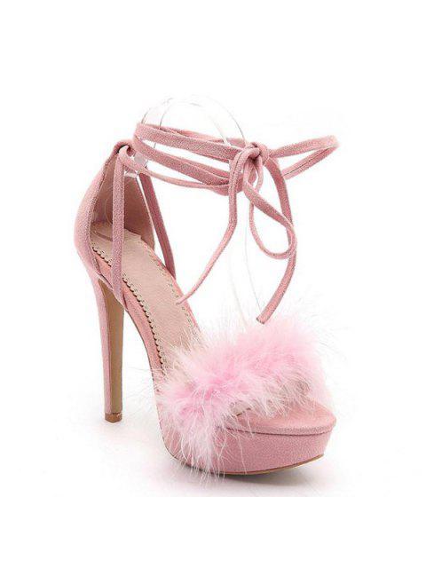 shop Faux Fur Stiletto Heel Sandals - PINK 39 Mobile