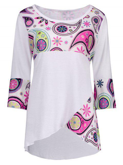 Más el tamaño de la raja del frente de Paisley asimétrica de la camiseta - Blanco 5XL Mobile