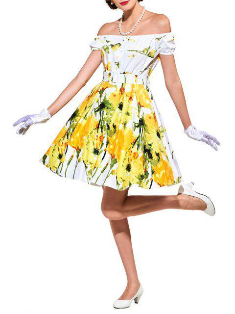 blumendruck ausgestelltes kleid mit g rtel gelb printkleider l zaful. Black Bedroom Furniture Sets. Home Design Ideas