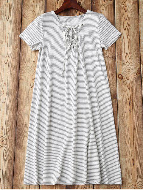 ladies Lace Up Striped Loungewear - STRIPE M Mobile