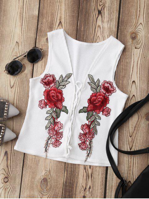 shop Lace Up Floral Applique Ribbed Top - WHITE M Mobile