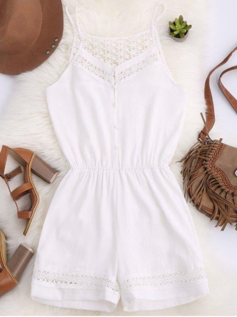 fashion Cami Laser Cut Romper - WHITE S Mobile
