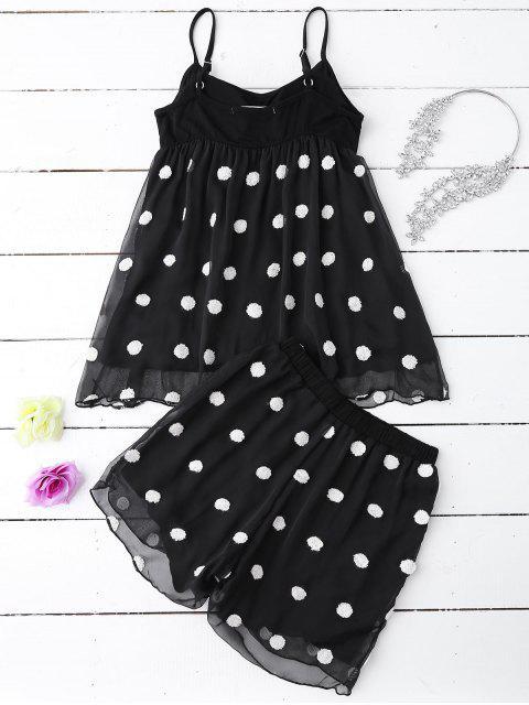 unique Cami Applique Layered Padded Sleepwear Suit - BLACK L Mobile