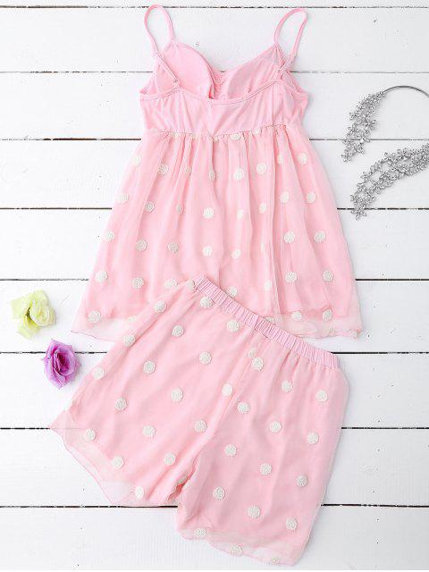 womens Cami Applique Layered Padded Sleepwear Suit - PAPAYA M Mobile