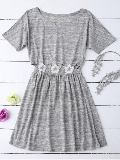 outfits Heathered Cut Out Floral Patched Waist Babydoll - GRAY M Mobile