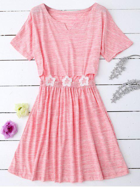 Melierte Neutraler Blumen pathed Taille Babydoll - Pink XL  Mobile