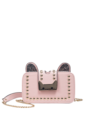 Sequin Chain Rivet Cross Body Bag