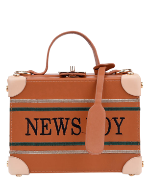 News Boy Embroidered Box Handbag