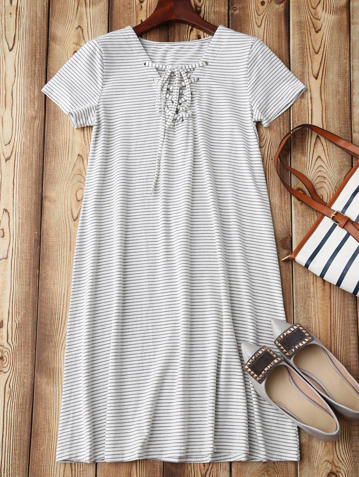 Lace Up Striped Loungewear