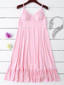 Slip Lace Ruffle Hem Babydoll - Light Pink Xl