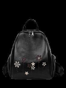 Mochila De Cuero Bordado De Flores De Imitación - Negro
