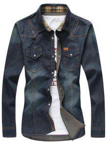 سستة جيوب التبييض غسل الدنيم قميص طويل الأكمام - ازرق غامق 3xl