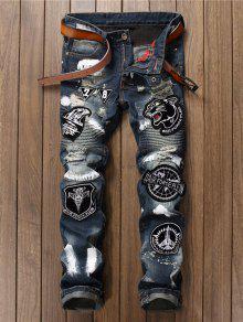 زين مطرزة جينز ممزق - الضوء الأزرق 34