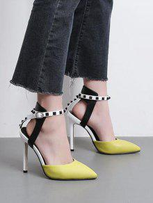 d0bfce57f76 37% OFF  2019 Rivets Two Piece Color Block Pumps In YELLOW 39