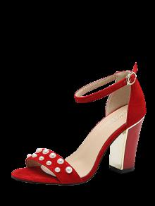 Buy Block Heel Ankle Strap Faux Pearls Sandals - RED 40