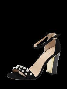 Buy Block Heel Ankle Strap Faux Pearls Sandals - BLACK 37
