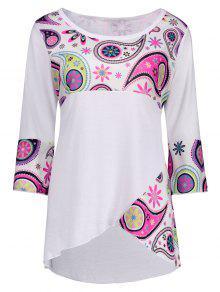 Taille Plus Paisley Avant Slit T-shirt Asymétrique - Blanc 5xl