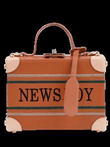 حقيبة يد مطرزة على شكل صندوق - البني الفاتح