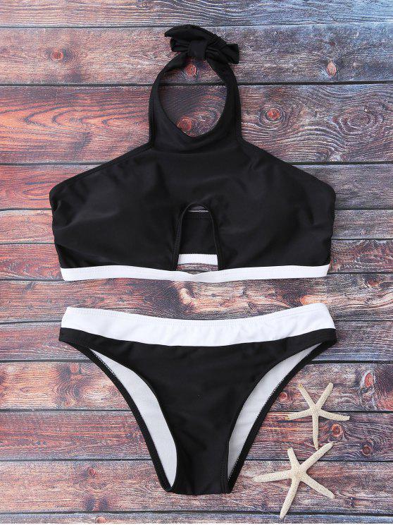 shop Halter Cut Out Bathing Suit - BLACK S