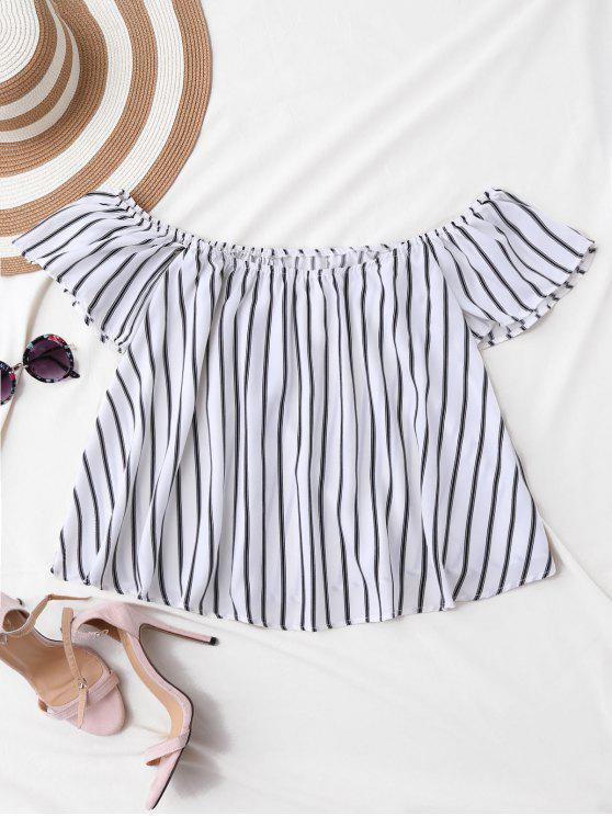 lady Flutter Off The Shoulder Top - WHITE S
