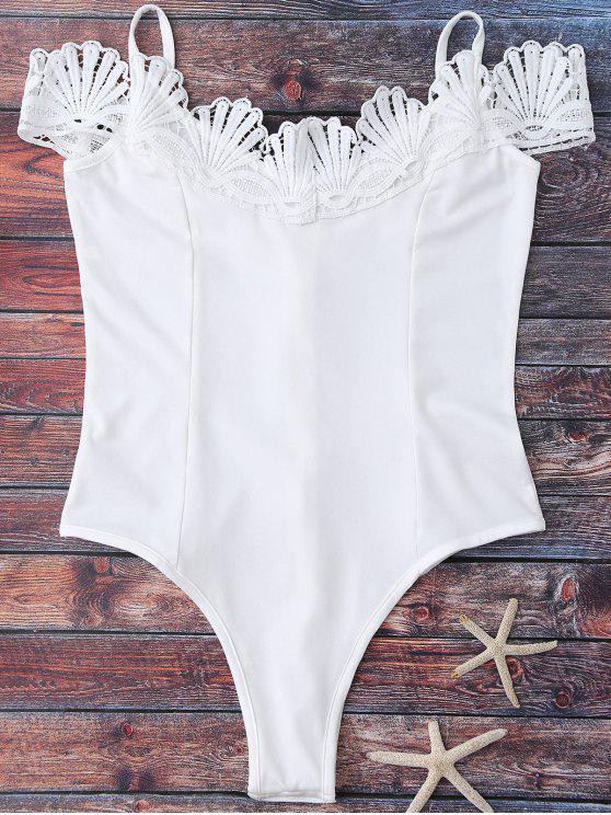 Body à épaules tombantes avec décoration de dentelle - Blanc XL