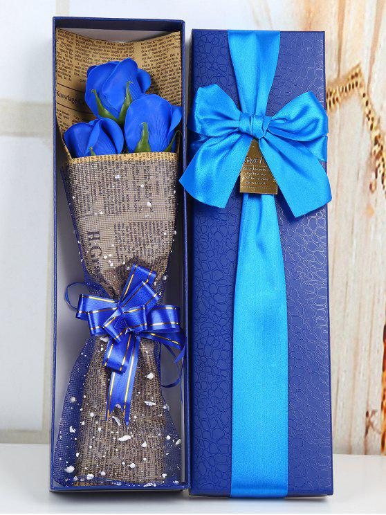 fashion Festival Gift Simulation Rose Soap Flowers Bouquet - BLUE