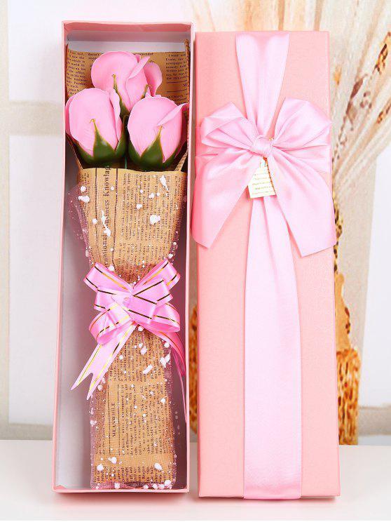 Fleurs rose en savon avec boîte - ROSE PÂLE