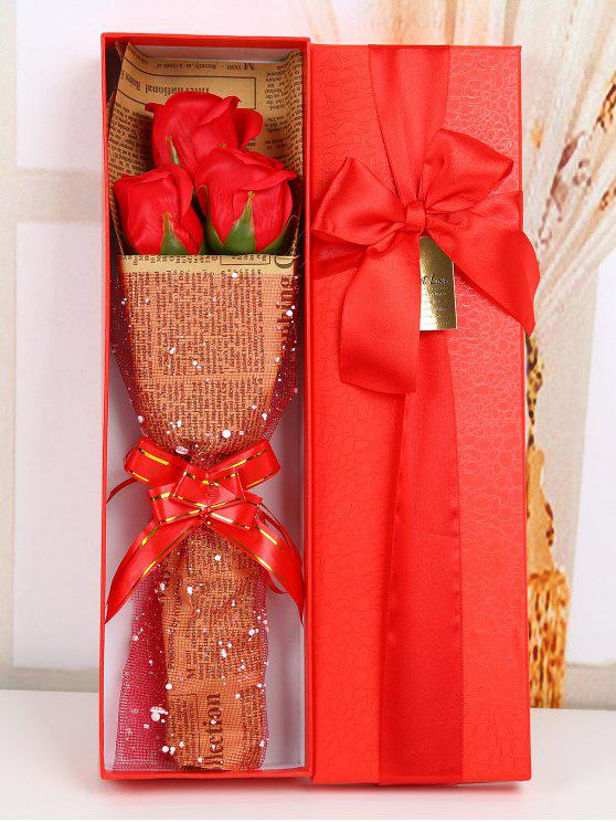 shops Festival Gift Simulation Rose Soap Flowers Bouquet - RED
