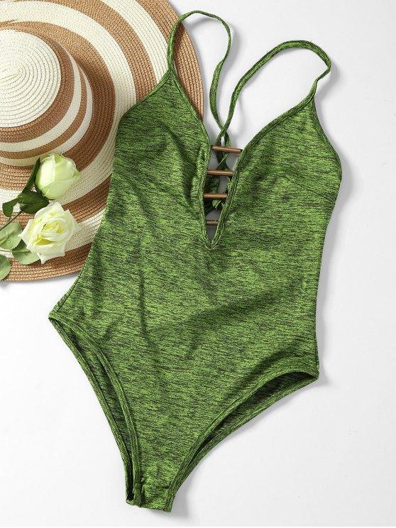Lace Up pescoço pescoço Monokini - Verde XL