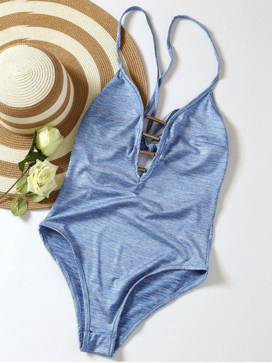 shops Lace Up Plunge Neck Monokini - LIGHT BLUE M