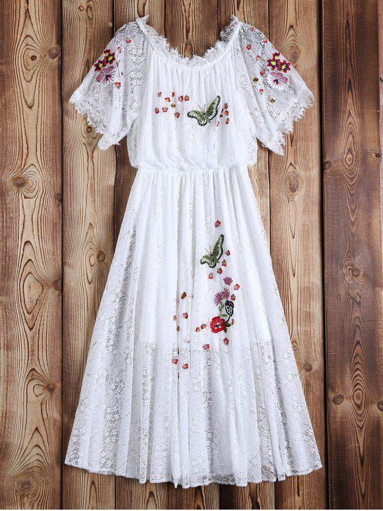 best Off Shoulder Embroidered Lace Dress - WHITE M
