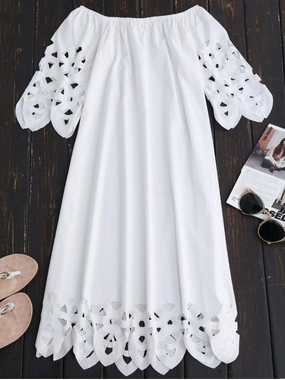 Vestido de Encaje con Vuelo con Hombros al Aire - Blanco S