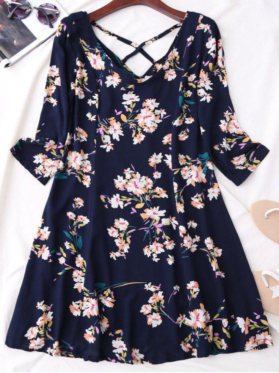 unique V Neck Floral Print Flared Dress - PURPLISH BLUE M