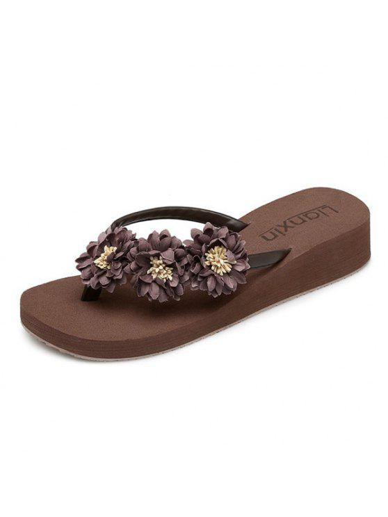 outfit Flat Heel Flowers Slippers - BROWN 38