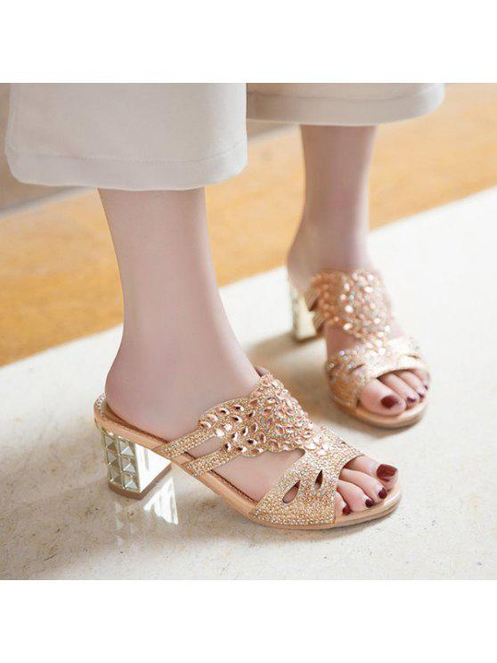 Talon mi strass chaussons - Or 38