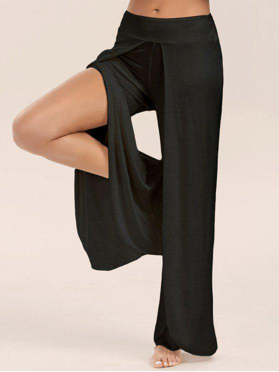 ladies High Slit Palazzo Pants - BLACK 2XL