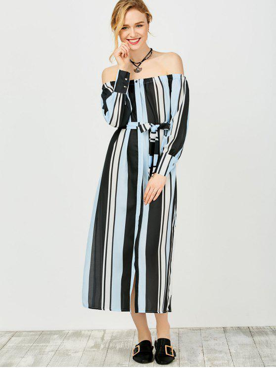 women's Multi Stripes Off The Shoulder Dress - BLUE AND BLACK L