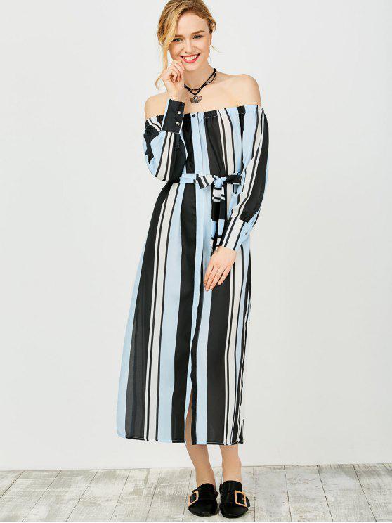 Vestido Fuera del Hombro con Multi-rayas - Azul y Negro L