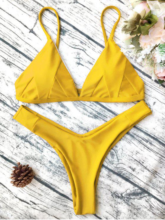 Traje de Bikini de Tirante Fino en Forma de Concha con Renello Blando - Amarillo S
