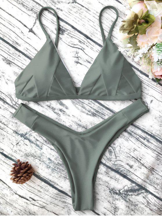 Traje de Bikini de Tirante Fino en Forma de Concha con Renello Blando - Verde del ejército S