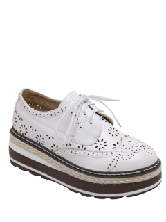 Hollow Out Wingtip Tie Up Platform Shoes - White 38
