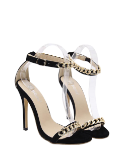 Mini Heel Chains Ankle Strap Sandals - Black 40