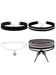 Rhinestoned Star Choker Necklace Set - Black