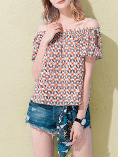Florales Del Hombro De La Camiseta - Naranja Rosa S
