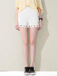 Pantalones Cortos De Talle Alto Con Los Anillos Mentales - Blanco S