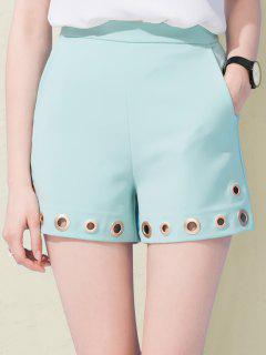 High Waisted Shorts With Mental Rings - Blue S